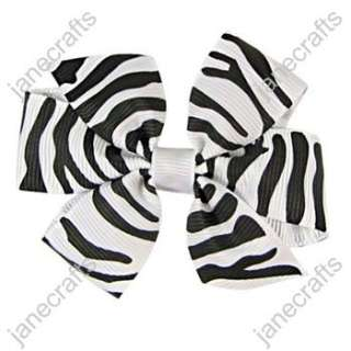 30 pcs Gorgeous White Black Zebra Daily Baby Girl Hair Bows Wholesale
