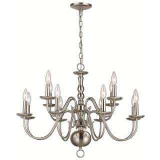 BayWoodford Collection 12 Light Hanging Brushed Nickel Chandelier
