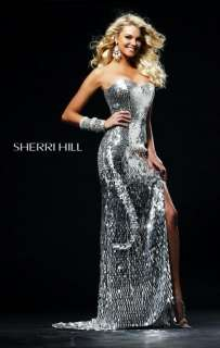 Sherri Hill 2270 Strapless Sequin Silver Evening Gown Dress Sz 4 New
