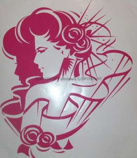 VINYL WALL ART LADY WITH FLOWERS ART DECO SILHOUETTE GRAPHIC STICKER
