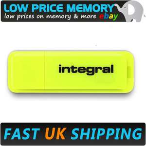 INTEGRAL 16GB YELLOW NEON USB MEMORY STICK FLASH PEN DRIVE BRIGHT