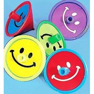 Pcs. 2 Smile Face Plastic Colorful Spin Tops
