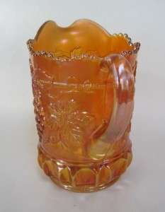 Northwood CaBle and Grape Marigold Carnival Glass Pitcher