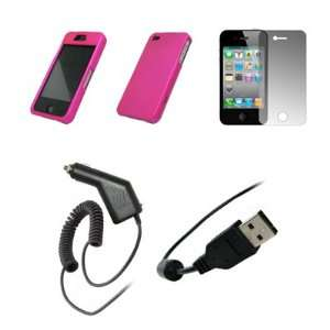 Apple iPhone 4   Premium Hot Pink Rubberized Snap On Cover Hard Case