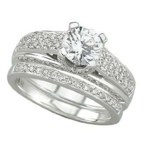 14K White Gold Diamond Bridal Set Semi Mount Engagement Ring (Center