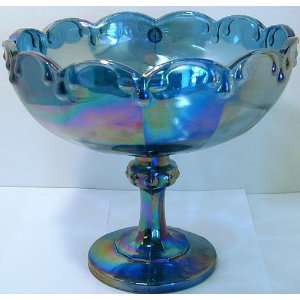 Indiana Glass iridescent blue carnival glass compote