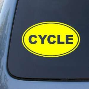 EURO OVAL   Bike   Vinyl Car Decal Sticker #1698  Vinyl Color Yellow