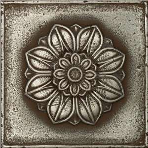 Metal Signatures Rosette Pointed 6 x 6 Decorative Tile in Aged Iron