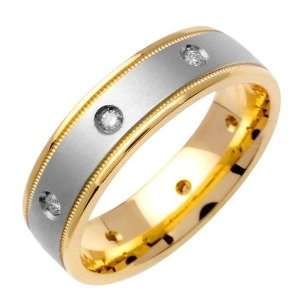 14K Gold Two Tone Diamond Wedding Ring (6 mm) Jewelry