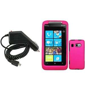 HTC Surround T8788 Combo Rubber Hot Pink Protective Case Faceplate
