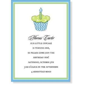 First Birthday Party Invitations   Cupcake Call Blue Birthday Party