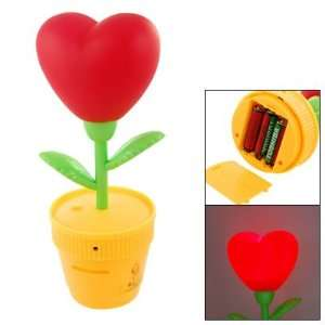 Amico Yellow Cup Red Heart Flower Design Night Lamp Light