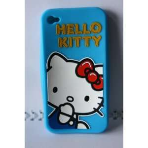 Hello Kitty Silicone iPhone 4G Case in Blue Cell Phones & Accessories