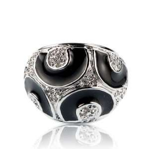Inspired Black Enamel Crystal Ring Size 6 Fashion Jewelry Jewelry
