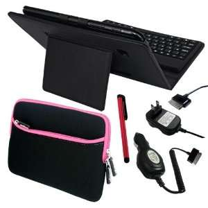 Premium Black Leather Case With Bluetooth Keyboard + Red Touch Screen