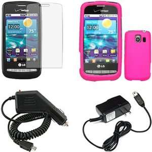 LG Vortex VS660 Combo Rubber Hot Pink Protective Case