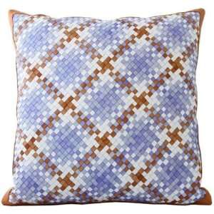 Lance Wovens Normandy Periwinkle Leather Pillow