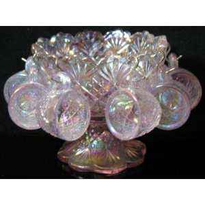 Miniature 4 Lavender Carnival Glass Punch Bowl Set