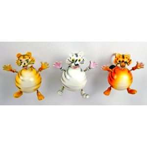Fat Tiger   Refrigerator Bobble Magnet (Set of 3)