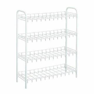 Household Essentials 4 Tier Metal Shoe Rack, White