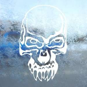 Demon Skull White Decal Car Laptop Window Vinyl White