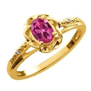 51 Ct Oval Pink Tourmaline White Diamond 18K Yellow Gold Ring Jewelry