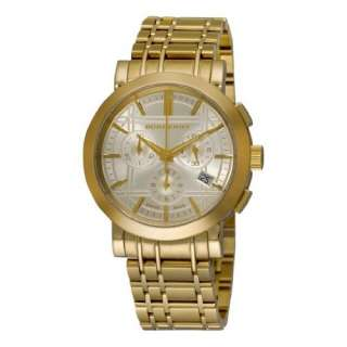 Plated Stainless Steel Gold Chronograph Dial Watch Burberry Watches