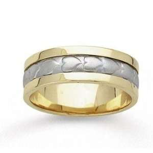 14k Two Tone Gold Fine Heart Hand Carved Wedding Band Jewelry
