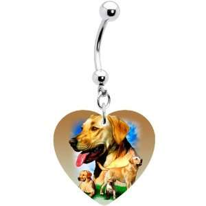 Heart Yellow Lab Dog Belly Ring Jewelry