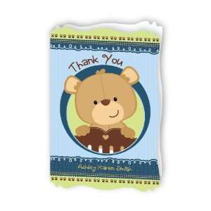 Baby Boy Teddy Bear   Personalized Baby Thank You Cards With Squiggle