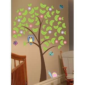 6ft Tree with Owl, Butterflies, Cute Snail and Flowers Wall Decal Art