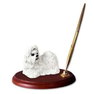 Shih Tzu Dog Desk Set   White