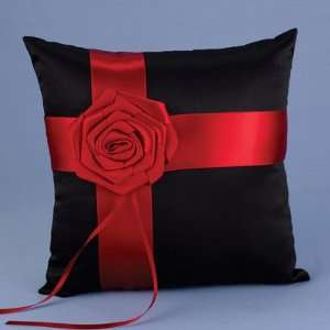 Midnight Rose Black and Red Ring Pillow