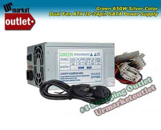 Green 650w Watt Dual Fan ATX Computer Silver PC Power Supply PSU W
