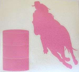Sm Pink Barrel Racing Racer Horse Rodeo Cowgirl Decal