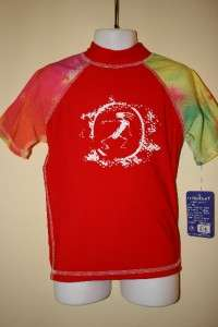 TRIBALSURF KIDS RASH GUARD SURF SHIRT SPF 50+RGCTD RED
