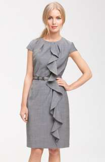 Tahari by Arthur S. Levine Belted Ruffle Dress