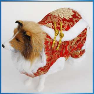 Pet Dog Chinese Tang Dress Suit Coat Clothing Costume Christmas