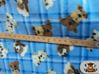 POLAR FLEECE FABRIC PRINTED *DOG BLUE* BTY