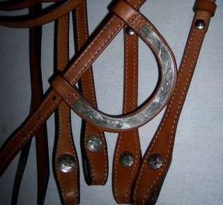MARKED SILVER WESTERN HORSE BRIDLE HEADSTALL REINS SUPPLE NICE
