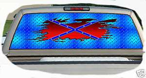 Ripped Rebel Flag Rear Window Graphics Tint Decals